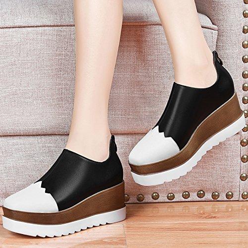 Cm Plate Chaussures blanc Talons Printemps et Étudiants Hauts forme HGTYU Style Slope Chaussures noir Chaussures Le Britannique À Chaussures 7 Loisirs Documentaire ETqf6vx