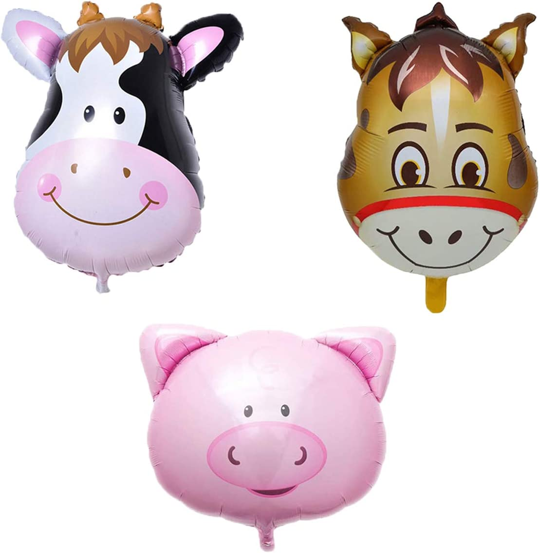 Animal Balloons Farm Party Balloons Kit Cow Donkey Pig Balloons for Birthday Baby Shower Barnyard Farm Themed Party Decorations Supplies 3Pcs