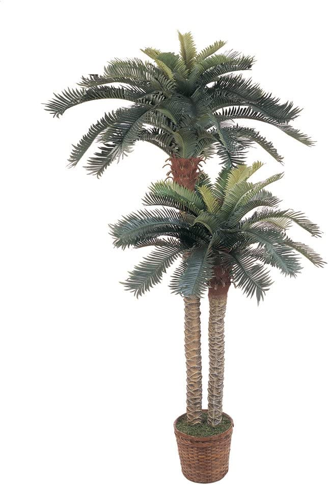 "Nearly Natural 5033 6ft. & 4ft. Sago Palm Double Potted Silk Tree,Green,Small stalk: 48""h, Large stalk: 72""h"
