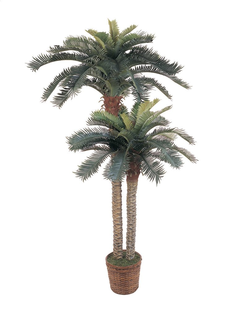 Nearly Natural 5033 Sago Palm Double Potted Silk Tree, 6-Feet and 4-Feet, Green 5033-lg