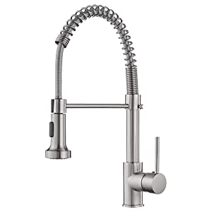 OWOFAN Lead-Free Commercial Solid Brass Single Handle Single Lever Pull Out Pull Down Sprayer Spring Kitchen Sink Faucet, Brushed Nickel Kitchen Faucets