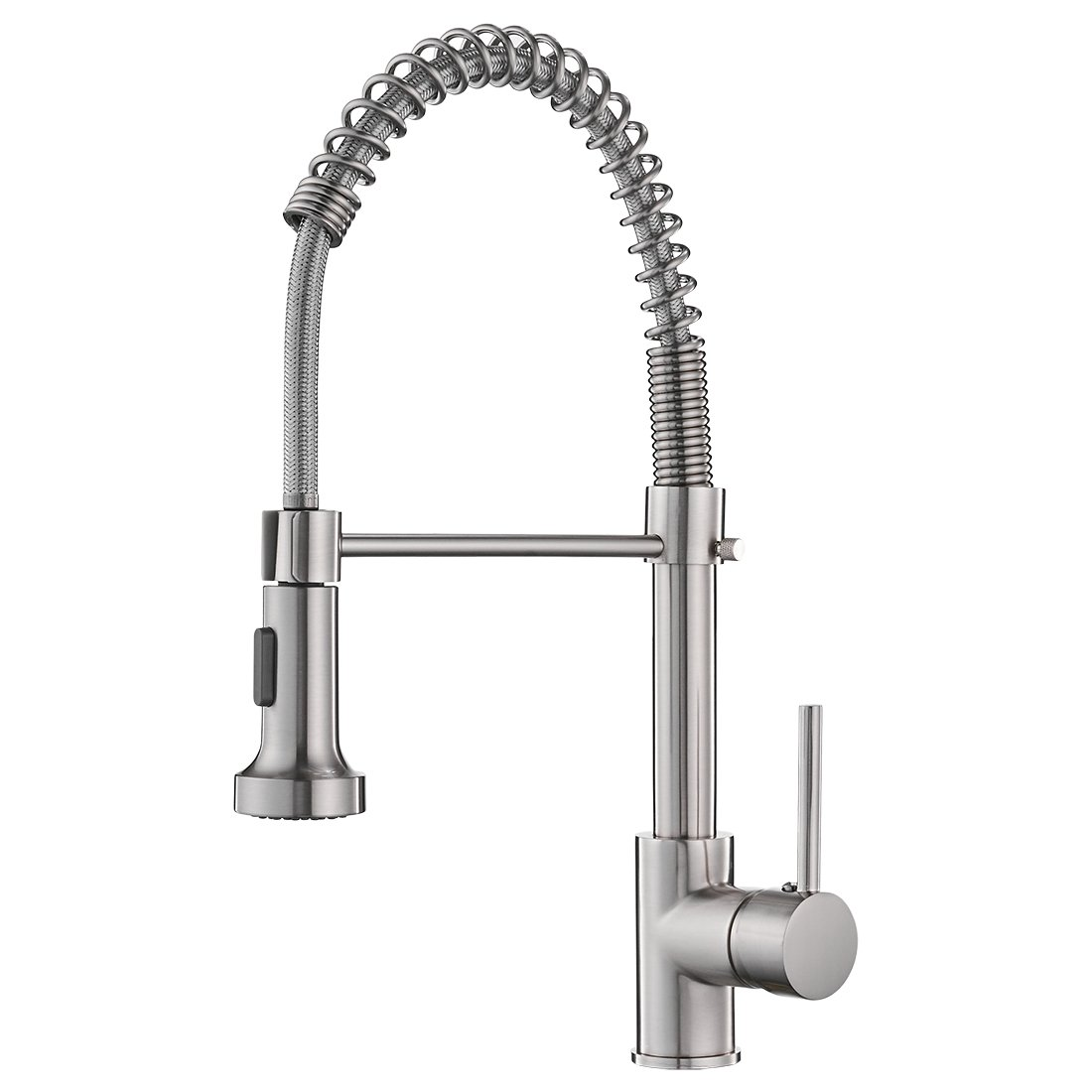 OWOFAN Commerical Spring Brushed Nickel Pre Rinse Pull Down Sprayer Single Handle Kitchen Faucet, Pull Out Kitchen Sink Faucet