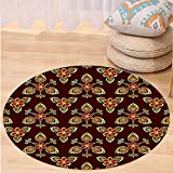 VROSELV Custom carpetAntique Classical Floral Arabesque Islamic Pattern in Vibrant Colors Artsy Image for Bedroom Living Room Dorm Gold Chestnut Brown Round 79 inches