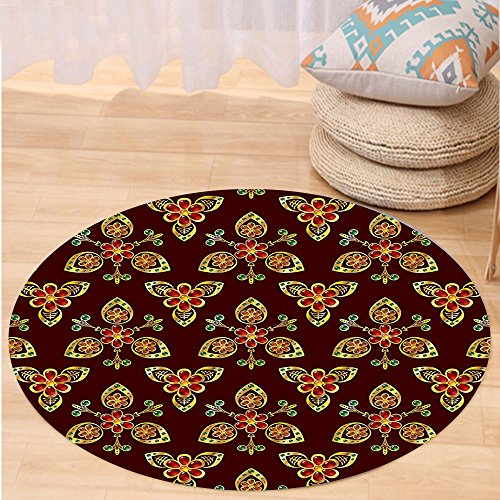 VROSELV Custom carpetAntique Classical Floral Arabesque Islamic Pattern in Vibrant Colors Artsy Image for Bedroom Living Room Dorm Gold Chestnut Brown Round 79 inches by VROSELV
