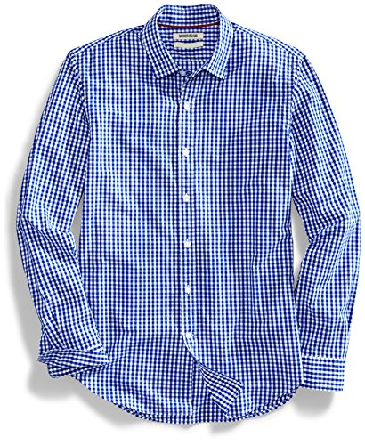 Goodthreads Men's Slim-Fit Long-Sleeve Gingham Plaid Poplin Shirt, Blue/White, Large