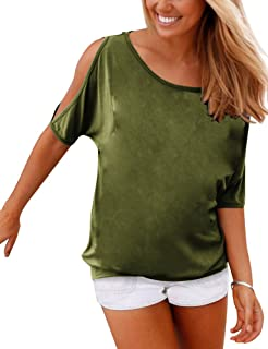05f154ce022998 Haola Women s Summer Casual T Shirts Cold Shoulder Short Sleeve Blouse  Solid Cute Tops