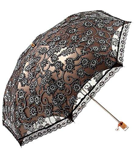 Honeystore Lace Travel Parasol Folding Anti-uv Windproof Embroidery Umbrella 2 Folding -
