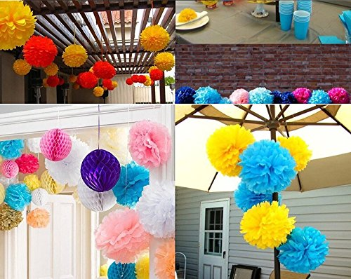 Kubert® 12PCS Mixed 8'' 10'' 14'' Sizes Gold Party Tissue Paper Flower Pom Poms Wedding Pompoms Garland Birthday Party Baby Room Nursery Decoration - Pom Poms Ball Blooms Tissue Paper Flowers by Kubert (Image #4)