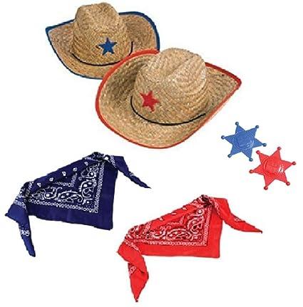 e1bc8be3d Novelty Treasures Costume Play Set Child Western Cowboy Hat, Plastic  Sheriff Badge, and Matching Bandana Scarf (2 Sets)