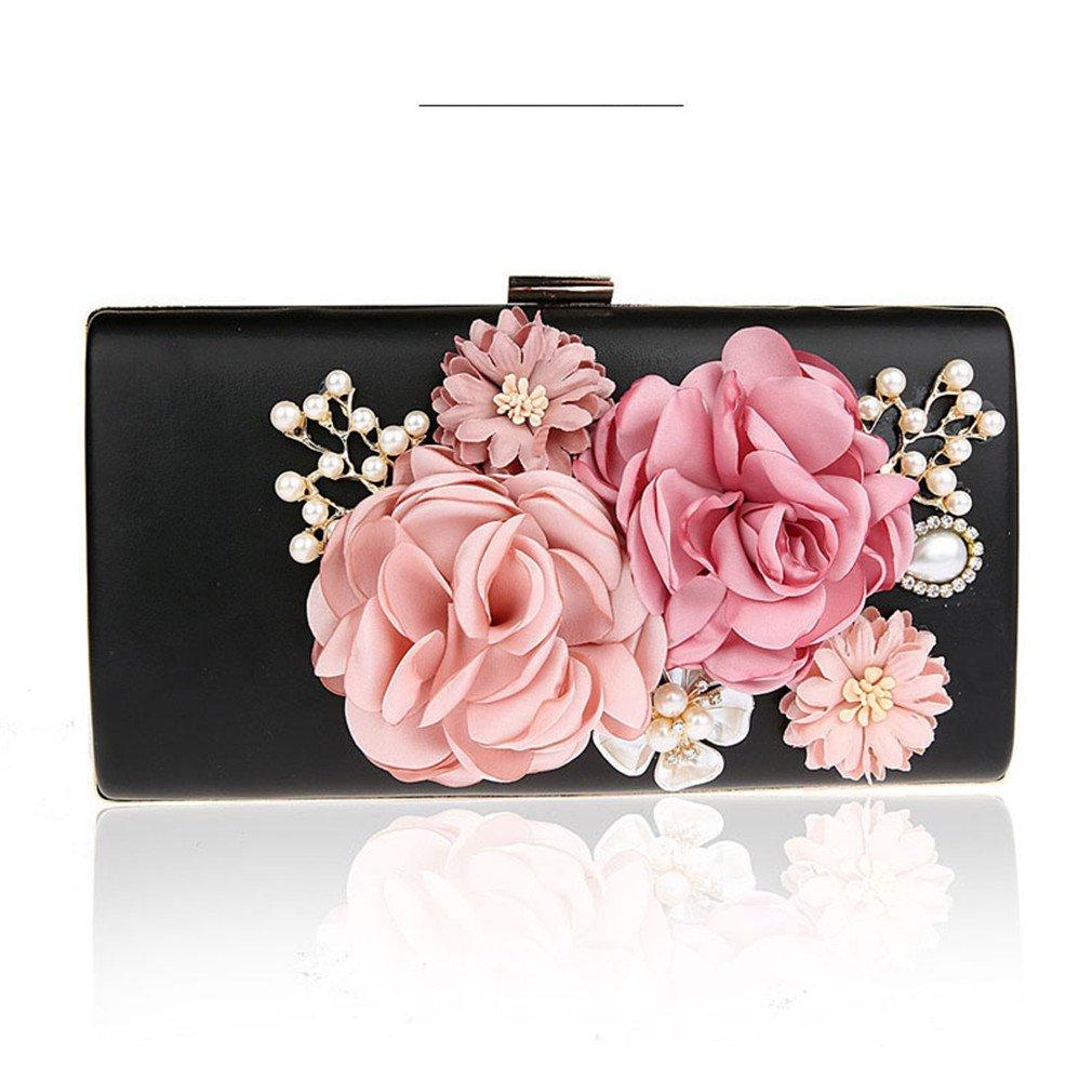 4ccbfa4246 Amazon.com  EKDJFG 3D Handmade Flower Evening Bags Famous Clutch Wallet  Wedding Purse Party Banquet Black  Sports   Outdoors