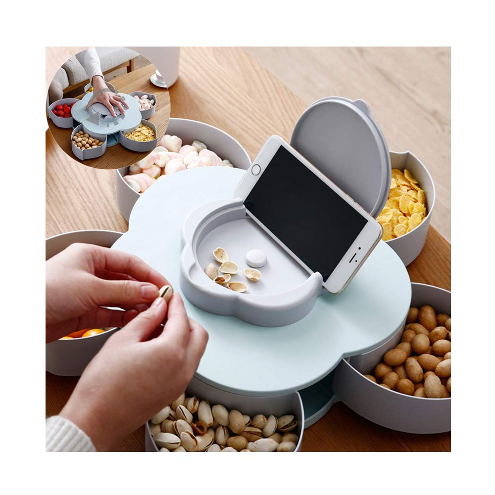 JAWM Creative Flower Candy Box, Rotating Blooming Plum Blossom Fruit Bowl Dried Fruit Box with Mobile Phone Holder Blue