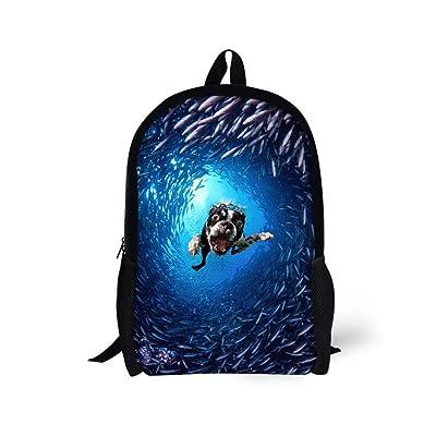 60%OFF Dellukee School Backpack For Teen Girls Cute Durable Kids Daypack Book Bag Undersea Dog Print