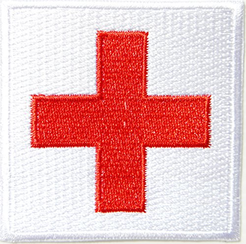 Improvised Halloween Costumes Adults (First Aid American Red Cross Medic First Aid Nurse Doctor Logo Jacket Uniform Patch Sew Iron on Embroidered Sign Badge Costume)