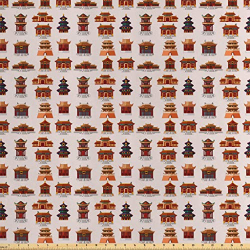 Lunarable Ancient China Fabric by The Yard, Cartoon Style Antique Designed Houses Pattern Ethnic Asian Design Elements, Decorative Satin Fabric for Home Textiles and Crafts, 10 Yards, Multicolor from Lunarable