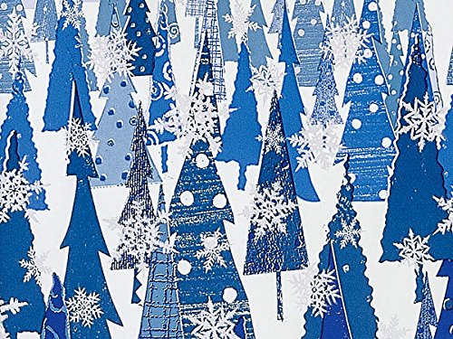 Trendy Snowy Blue Silver Christmas Trees Holiday Gift Wrap Paper - 16 Foot Roll -