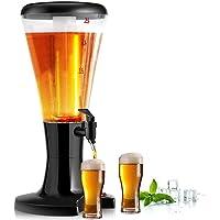 COSTWAY Distributeur de Bière,Tour de Bière avec 3L de Capacité Tube de Glace Séparé avec Lumières Variétées pour Fêtes,Barbecues,Buffet 21 x 24 x 48 CM
