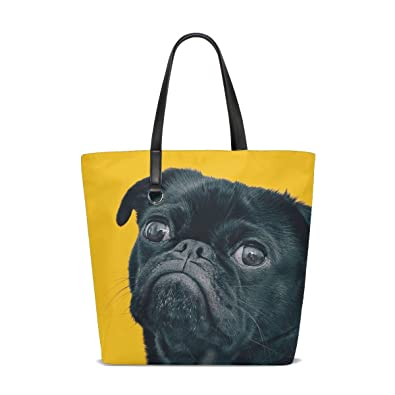 Amazon.com  Animal Dog Pug Fluffy Small Puppy Adorable Pet Cute Tote ... c371d1963c
