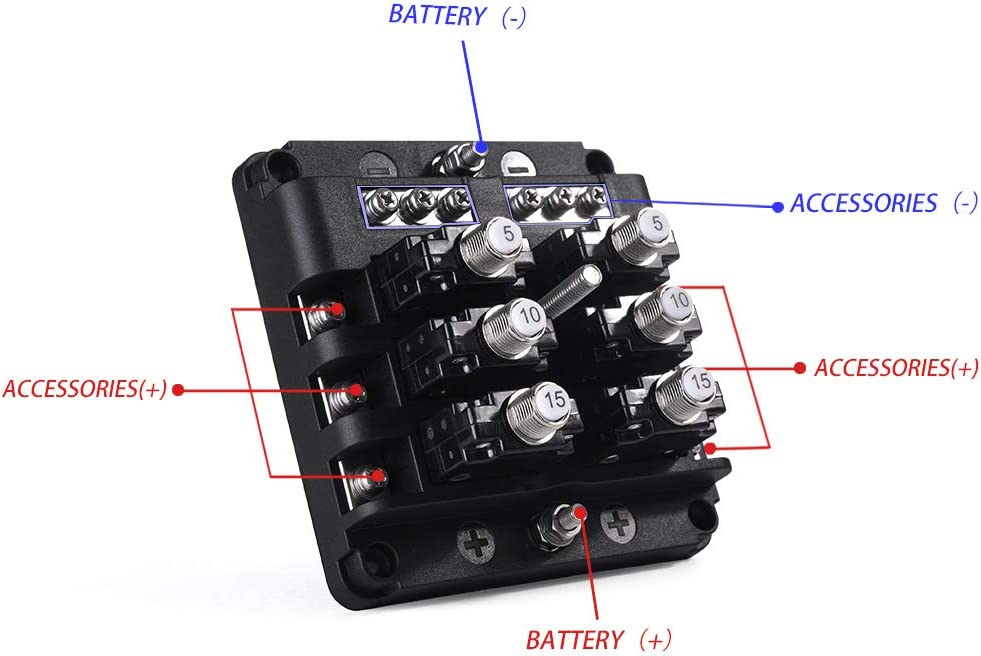 Fuses & Accessories 32V DC PA66 Material 6 Way Fuse Block with ...
