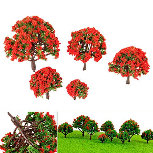Review 10pcs Red Flower Trees