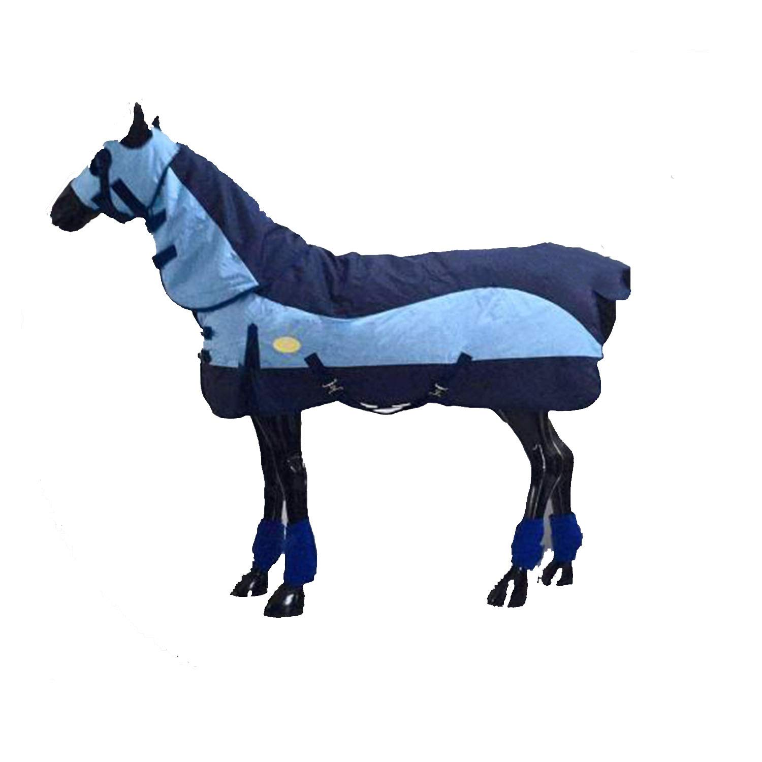 145cm Winter Horse Blanket with Hood, Down Fabric, Warm and Comfortable