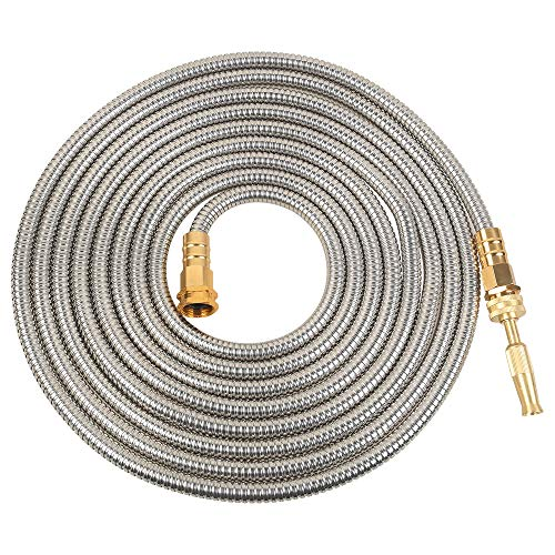 VERAGREEN Stainless Steel Metal Garden Hose 304 Stainless Steel Water Hose with Solid Metal Fittings and Newest Spray Nozzle, Lightweight, Kink Free, Durable and Easy to Store(75FT)