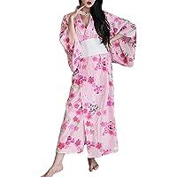 Sexy Short Kimono Costume Adult Women's Japanese Geisha Yukata Prints Gown Blossom Fancy Dress With Obi Belt