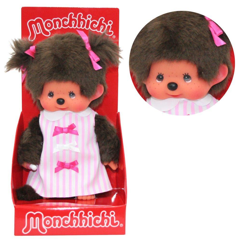 Sekiguchi Mädchen im Schleifen-Kleid   20 cm   Monchhichi Puppe   Fashion Dress
