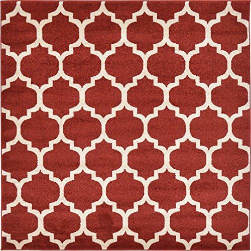 A2Z Rug Trellis Design Collection - 6' x 6'-Feet-Square Area Rugs, Red