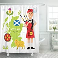 Semtomn Shower Curtain Scotland Red Piper Scottish Bagpiper Flat Colorful Cartoon White Shower Curtains Sets with 12 Hooks 60 x 72 Inches Waterproof Polyester Fabric