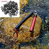 SF Red Wacky Worm Senkos Rig Tool Kit with 100 PCS Black Wacky Rings for 4&5' Senkos