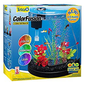 Tetra ColorFusion Starter aquarium Kit 3 Gallons, Half-Moon Shape, With Bubbler And Color-Changing Light Disc 12