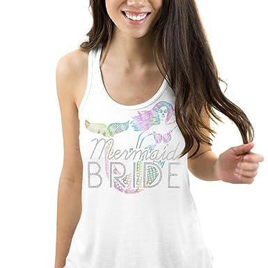 b84ab1489860e6 RhinestoneSash Mermaid Bride Iridesent Flowy Tank Top - Bride to Be  Bachelorette Party Shirt - Small