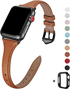 WFEAGL Leather Bands Compatible with Apple Watch 38mm 40mm 42mm 44mm, Top Grain Leather Band Slim & Thin Replacement Wristband for iWatch SE & Series 6/5/4/3/2/1 (Brown/Black, 38mm 40mm )