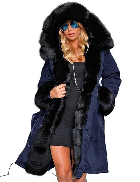 new style db1db 08a37 Tomasa Donna Parka Invernale Lungo di Pelliccia Sintetica con Cappuccio  Cappotto Giacca Caldo - S-XXXL - 4 Colori
