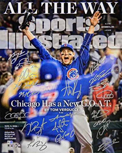 2016 Chicago Cubs Team Signed Chicago Cubs 2016 World Series Anthony Rizzo Sports Illustrated Cover 16x20 Photo (20 (16x20 Mlb Sports Illustrated Cover)