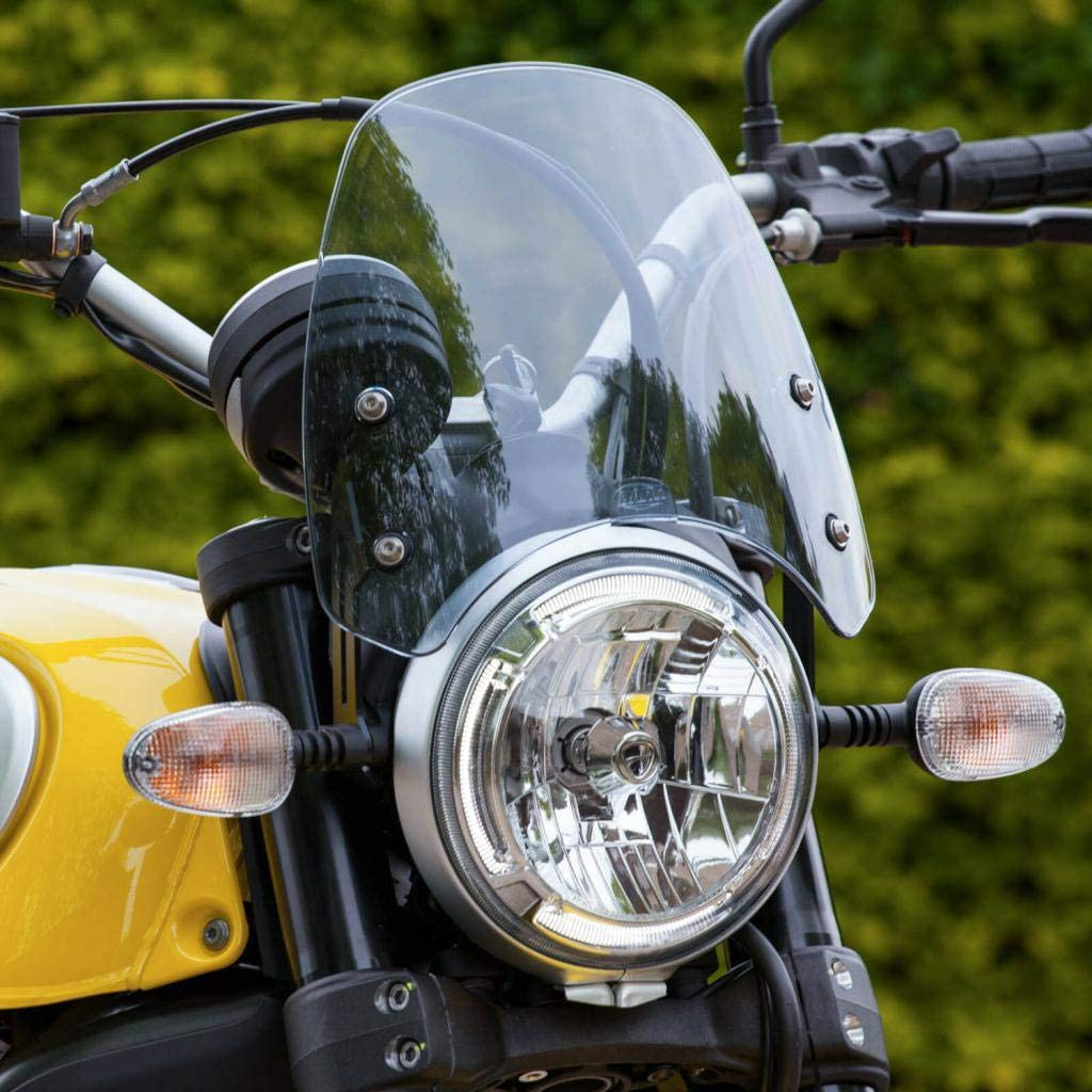 H HILABEE Motorrad Windschutzscheibe Spritzschutz Windschutz f/ür Ducati Scrambler 16+ Grau