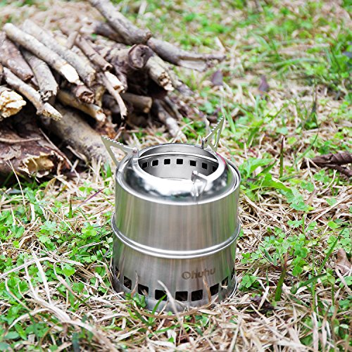 Ohuhu Portable Stainless Steel Wood Burning Camping Stove ...