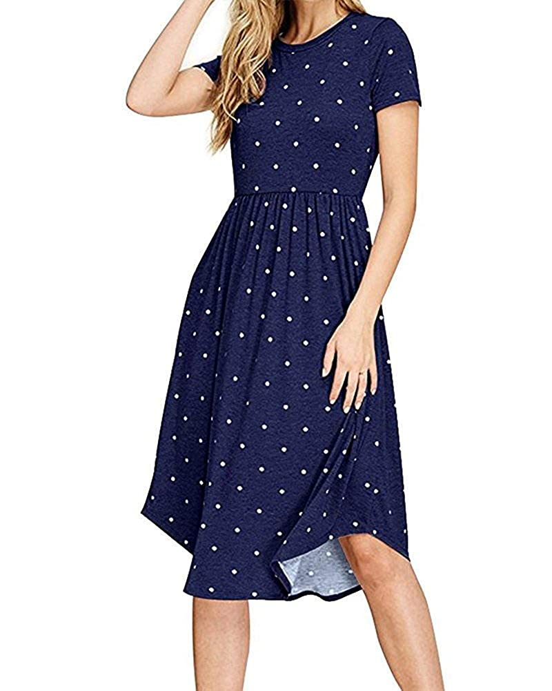 bluee Women's Dresses Long Sleeve Casual Button Down Swing Midi Dress with Pockets
