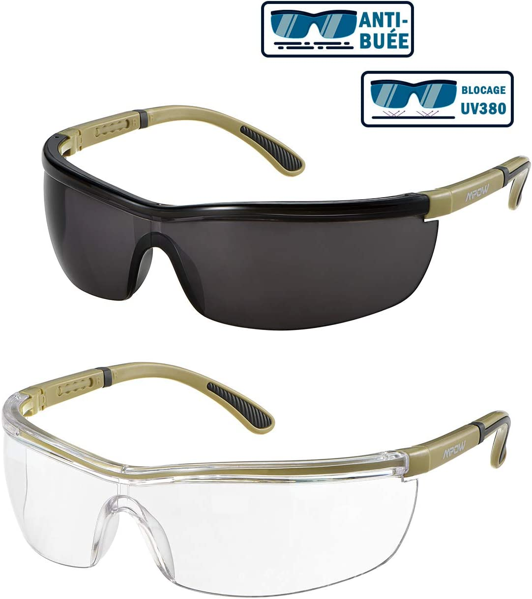 Mpow Gafas de Seguridad, Lentes Transparentes y tintadas antiniebla/rayones, UV 380 / luz Azul/Alta Resistencia al Impacto, Brazos Ajustables, Antideslizantes, 2 Pares