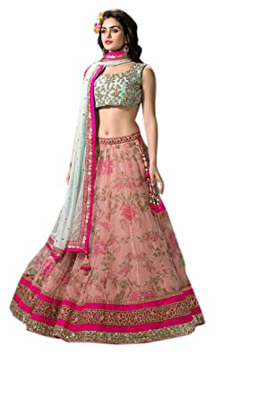 ee37e129e5a0d Greenvilla Designs Women s Net Lehanga Choli (Pink And Sky Blue Lehenga   Pink  Free Size)