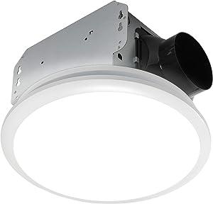 Homewerks 7141-110 Bathroom Fan Integrated LED Light Ceiling Mount Exhaust Ventilation, 2.0 Sones, 110 CFM, White