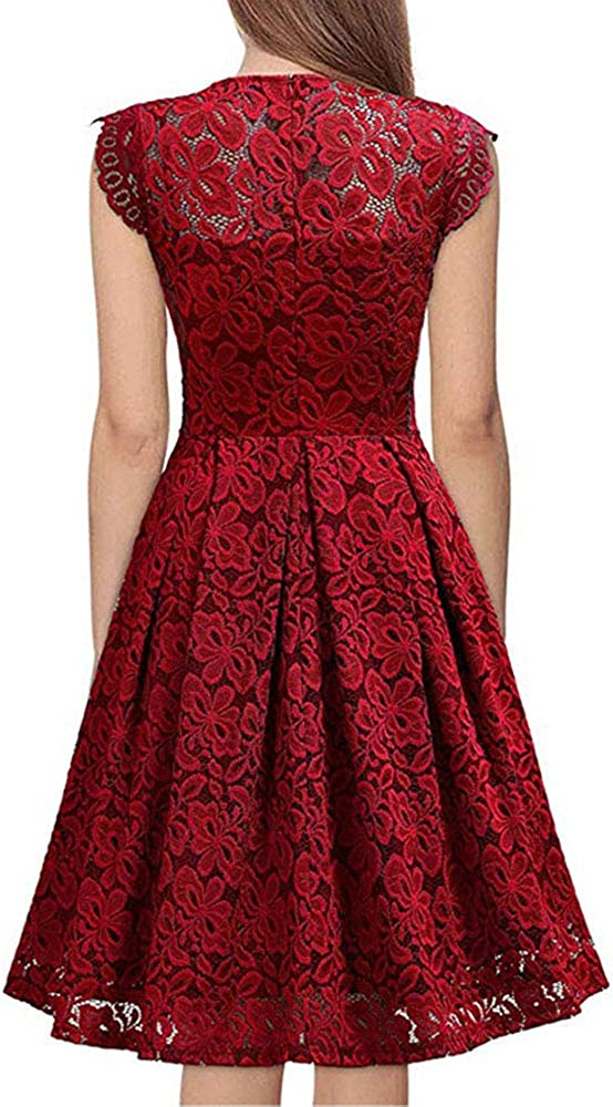 IceyZoey Mujer Elegante Vestido Midi Cord/ón Print Cuello en V Vestidos de Noche Zipper Vestido de C/óctel A-Line Swing
