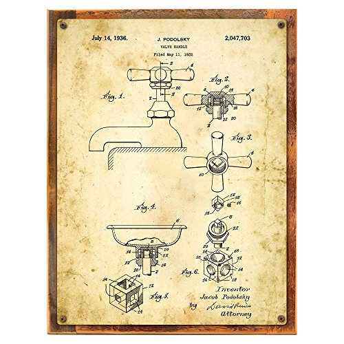 Wood-Framed Bath Faucet Patent Drawing Metal Sign, Vintage, Bath, Bathroom, Steampunk, Industrial Décor on reclaimed, rustic (Patent Accent)