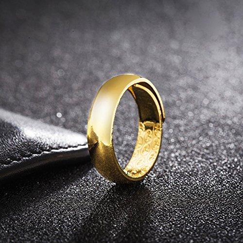 Vietnam alluvial Gold Gilt Opening Couple Lover Rings Glossy Men's Gold Rings Women Girls 18k Gold Ring (Large ()