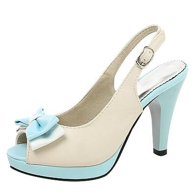 YE Damen Peep Toe Pumps Blockabsatz High Heels Slingback Plateau mit Schleife und Schnalle Elegant Schuhe