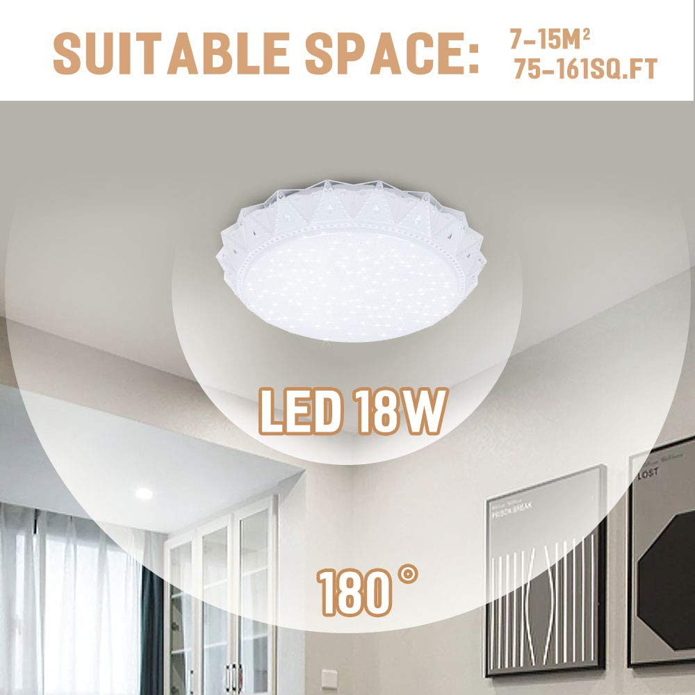 Neporal 6000K LED Ceiling Light Flush Mount 14 Inch 18W 200W Equivalent Contemporary Ceiling Light Fixture for Kitchen Bedroom Hallway Balcony 85-160 Sq.ft