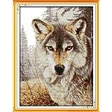 Joy Sunday® Cross Stitch Kit 11CT Stamped Embroidery Kits Precise Printed Needlework- Wolf spirit (2) 24×34CM