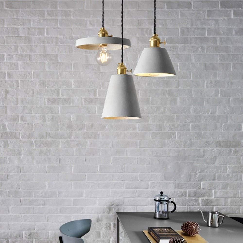 Wylolik Lampada a sospensione industriale vintage in cemento Loft in metallo in metallo Cucina a isola Lampade da soffitto montate su superficie 4 stili Nordic Breve Loft Ristorante Cafe Bar Lampade a