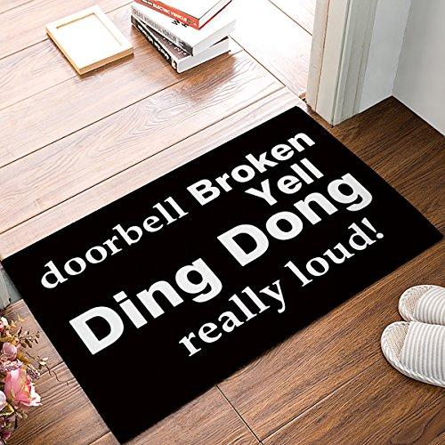 - Doormat doorbell Broken Yell Ding Dong really loud black back Welcome Door Mat Rug Indoor/Outdoor Mats Welcome Doormat Decor Rug 23.6