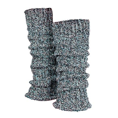 Piarini 1 paar grove gebreide manchetten dames been – warme winter beenwarmers wol – meerkleurig blauw grijs roze one…